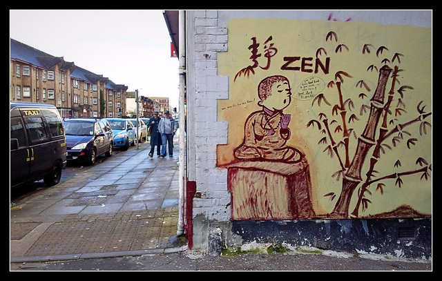 Zen Buddha artwork on Tudor Road, Cardiff.