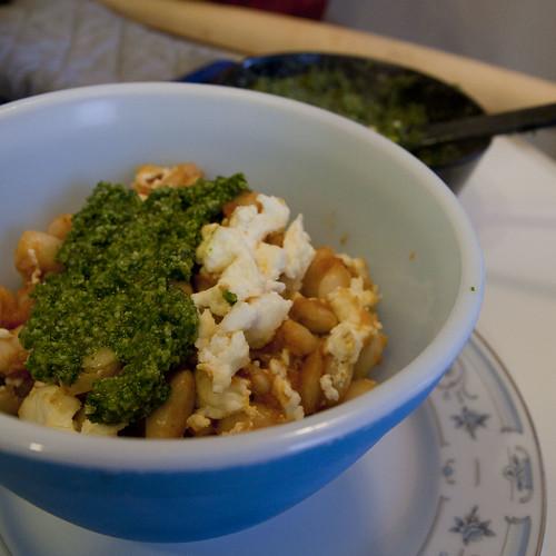 Chipotle-Tomato Sauced Canellinni Beans with Feta and Cilantro-Pepita Pesto