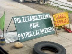 """Bolivian Police; Stop; Highway Patrol"""