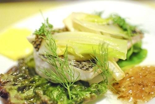Steamed Black Seabass, Fennel, Lettuce, Bernaise Vinaigrette2