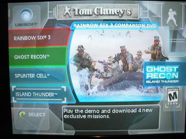 Rainbow Six Companion Demo Disc menu