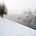 Rowing in snow and fog