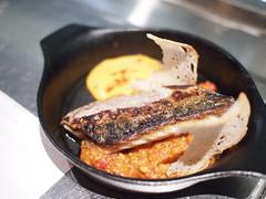BBQ mackerel, roasted almond romesco, aioli. Esquina Tapas Bar, Jiak Chuan, Keong Saik, Tanjong Pagar