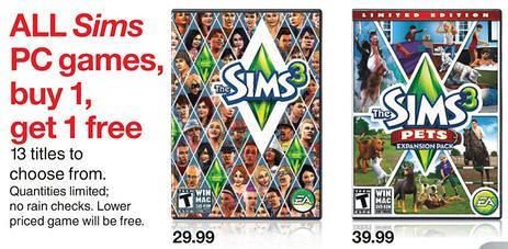 Sims 3 BOGO via Target!