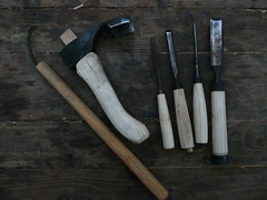 bowl knife, adze and chisels