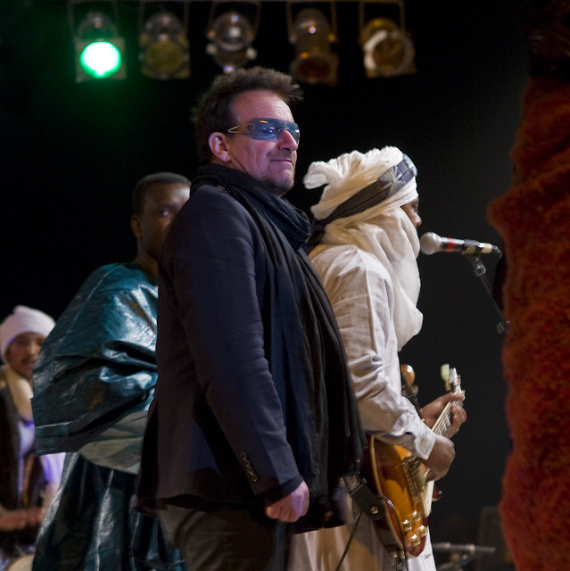 Bono at the Festival au Desert near Timbuktu, Mali 2012