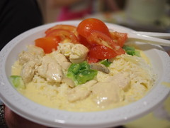 Creamy chicken dinner at camp