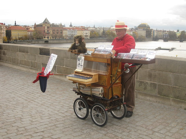 Barrel Organ player on Charles Bridge