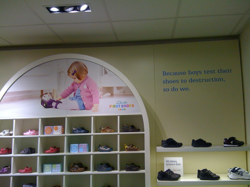 Photo of 'boys' display in Clarks children's shoes section