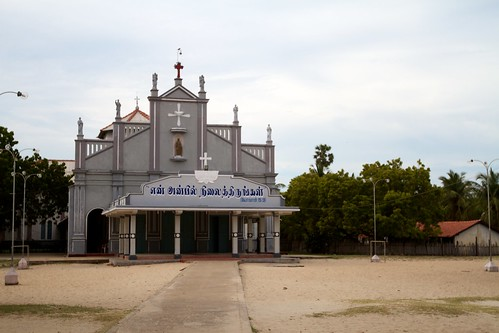 Beautiful hand-lettering on a church in Thalaimannar