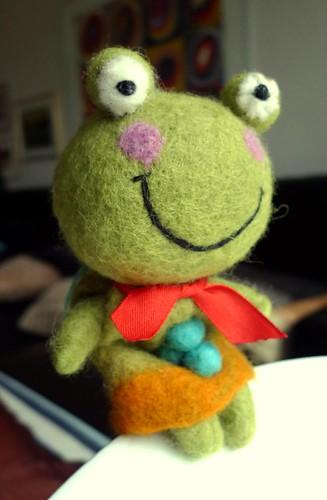 Frog felt doll (posing)