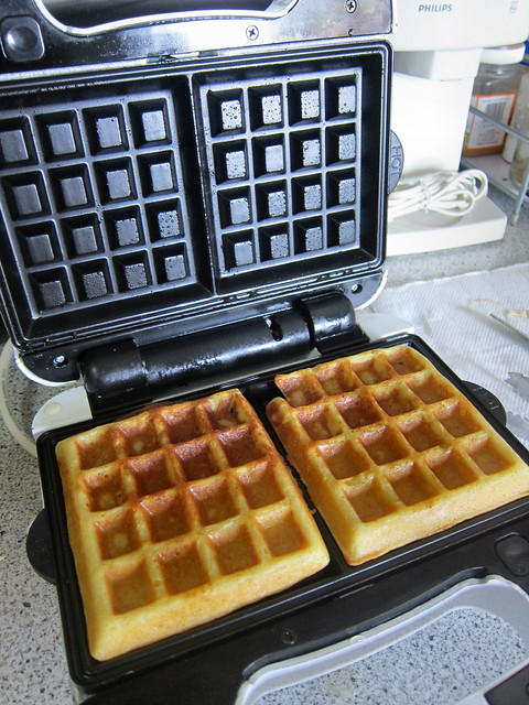 Freshly made waffles