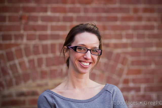 Face - smiling woman with dimples and glasses