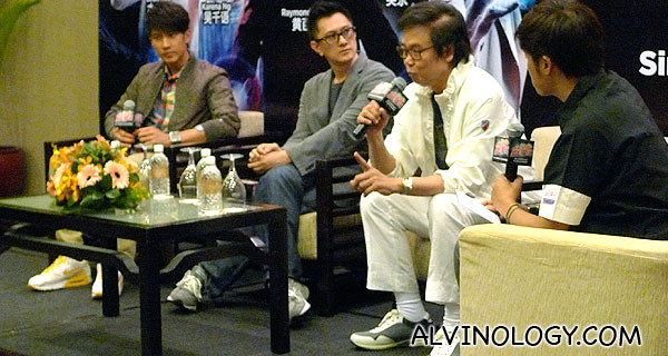 (L to R): Wu Chun, Wilson Yip and Raymond Wong speaking with host, Danny Yeo