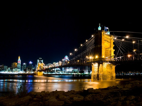 Roebling Bridge and Ohio River at night from Kentucky