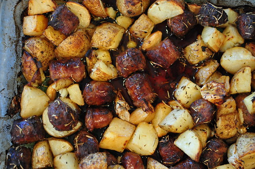 Baked Italian Sausage with Potatoes and Garlic