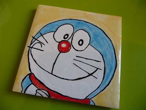 Painted Doraemon coaster