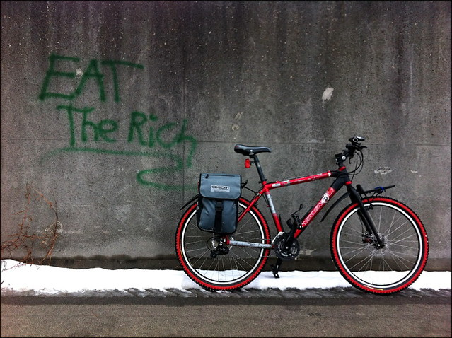 """Eat the Rich"" Graffiti and Bike"