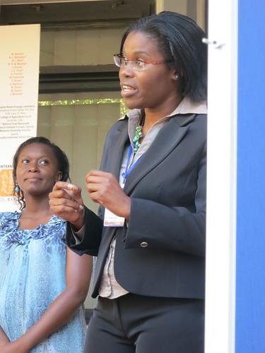 Nairobi visit by WB VP Rachel Kyte: Presenters Lydia Wamalwa (CIP) and Sheila Ommeh (ILRI-BecA)