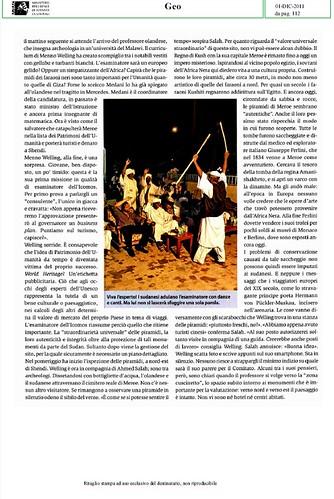 Michael Stuhrenberg, [Patrimonio dell` Umanita] CHI HA I MONUMENTI PIU` BELLI. GEO (01/12/2011), p. 112 [PDF  = PARTE 2, pp. 1-6]. by Martin G. Conde
