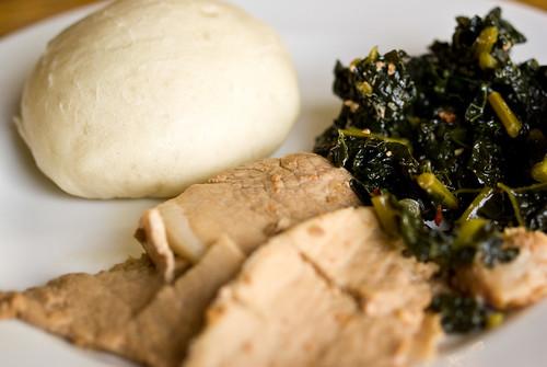 pork and greens and bao