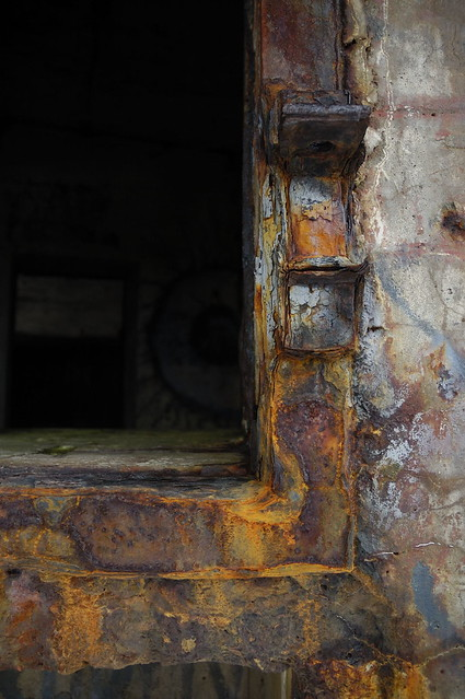 Decay. The rusted (and warped) frame of one of the WWII bunkers at Cape Spear.