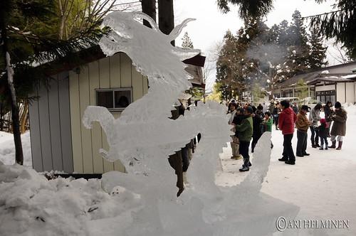 Ice dragon statue in Aomori