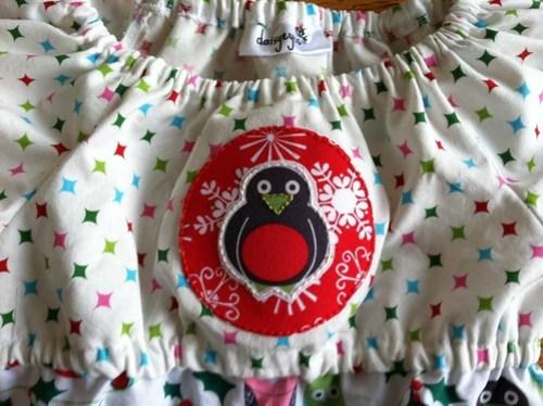 owl dress: hand applique close up