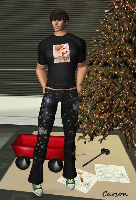 Bombshell Designs - Mr. Hunter Shirt, PEER - Black Leater Snowflake Jeans, [BeslaM] - OzStarz Chucks