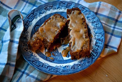 Banana Nut Bread with honey butter glaze