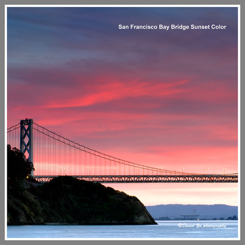 San Francisco Bay Bridge Sunset Color by davidyuweb