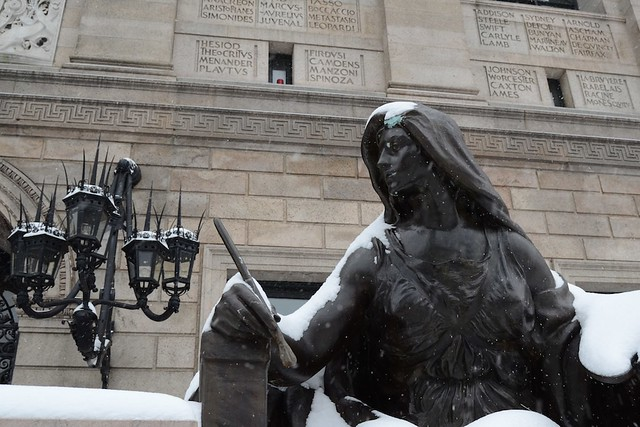 Snowy statue at BPL
