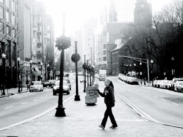 boston boylston street woman crossing