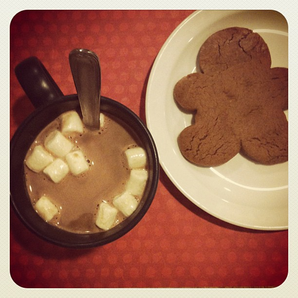 Cocoa and the last of the gingerbread boys for a bedtime snack.