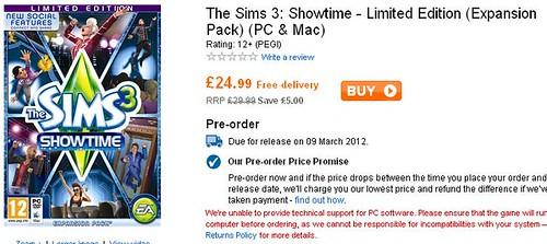 Pre-Order Showtime via Play.com