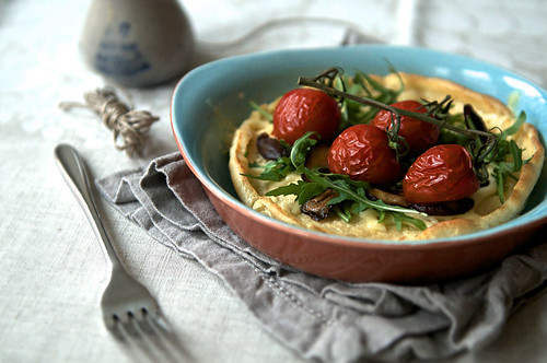 Dutch Babies with mushrooms, tomato, cheese and rucola