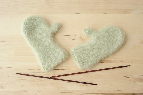 Felted baby mittens