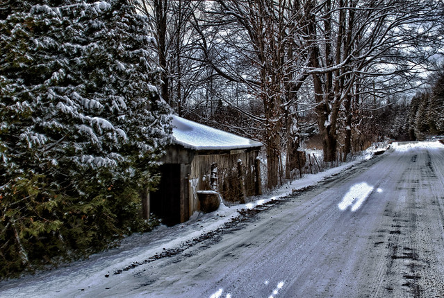 Barn and Snowy Road