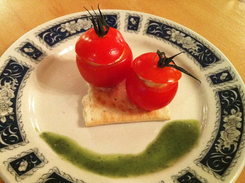 Cherry Tomato with Ardsallagh Goats Cheese, Basil Pesto & Sea Salt Cracker