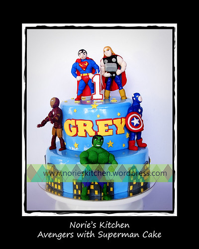 Norie's Kitchen - Avengers with Superman Cake by Norie's Kitchen