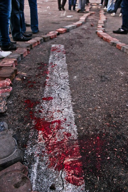 The blood of the martyr who got shot in the head