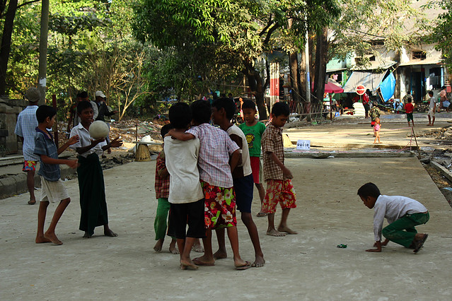 Kids playing in Yangon