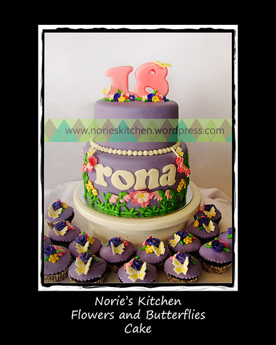 Norie's Kitchen - Flowers and Butterflies Cake by Norie's Kitchen