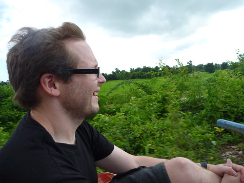Col on the bamboo train