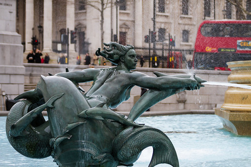 Fountain statue in front of National Gallery Trafalgar Square London 2012 by chris favero