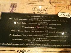 Desserts menu, Brasserie Gavroche, 66 Tras Street, Singapore