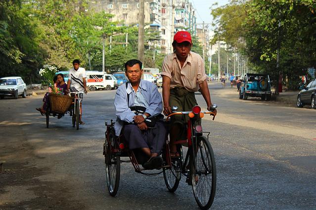 Trishaws in Yangon
