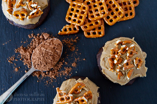 Chocolate Stout Cookies with Salted Caramel Frosting & Pretzels