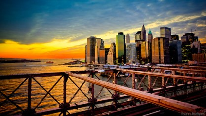 New York City, Sunset from Brooklyn Bridge (NYC, USA)