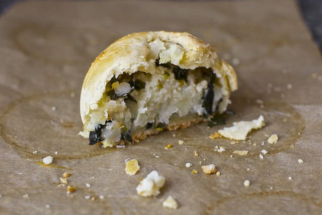 a flaky, hearty half knish